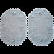 Aqua Hand Embroidery Pair Vanity Doilies Vintage 1920s