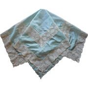 Aqua Silk Lace Tea Tablecloth Antique 1910s to 1920s Blue