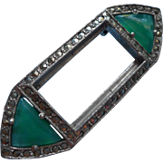 Art Deco Marcasite Green Glass Vintage Pin TLC