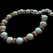 Vintage 1950s Glass Necklace Bumpy Beads Blue Brass Rhinestone Balls