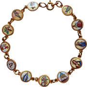 Enamel Bracelet Italian Vintage Catholic Symbols Saints