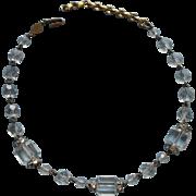 Vintage Freirich Crystal Beads Necklace Barrel Cut Beads