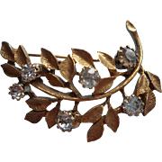 Vintage Goldette Pin Antique Gold Color Finish Rhinestones Leaves Branch