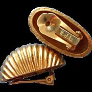 K.J.L. Vintage Earrings Classic Shrimp Form Clip Gold Tone Metal