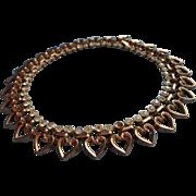 Vintage Trifari Necklace Hearts Rhinestones Choker