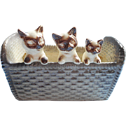 Vintage Planter 3 Kittens Pottery Ceramic Three Cats Basket