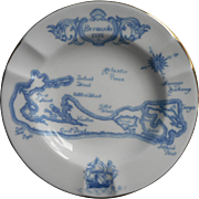 Wedgwood Bermuda Ashtray Vintage Map For A.S. Cooper China Blue