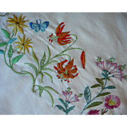 Crewel Embroidery To Finish Vintage Wool Throw Blanket Stamped Goods