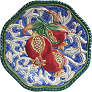 Fitz And Floyd Pomegranate Plate Vintage Majolica Faience
