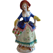 Occupied Japan Figurine 18th Century Style Lady Flower Basket Brightly Hand Painted