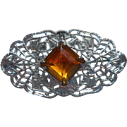 1910s Filigree Little Lace Pin Amber Color Glass Stone