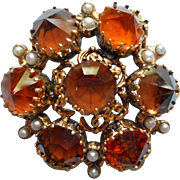 Vintage Austrian Pin Brooch TLC Needed Great Amber Colored Stones Reverse Set