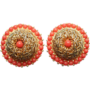 Vintage Earrings Coral Color Clip Spaghetti Wire Domed