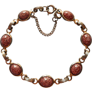 Vintage Faux Goldstone Glass Stones Bracelet Guard Chain