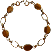 Vintage Bracelet Gold Filled Tiger Eye Stones Dainty Links Winart