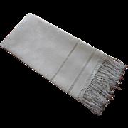 Antique Towel Fringed Linen Damask Drawn Work