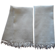 Antique Fringed Damask Linen Towels 1 Pair 1 Single A Bit TLC