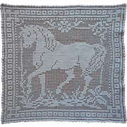 Antique Horse Lace Filet Crocheted Tray Doily Lamp Mat
