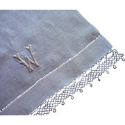 Monogram W Antique Runner Tatted Lace TLC Natural Color
