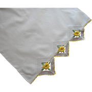 Vintage Pillowcase Yellow Roses Crocheted Lace Single