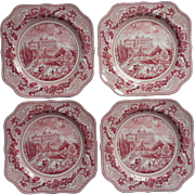 Johnson Brothers Historic America Washington 4 Salad Plates Square Vintage Pink Transferware