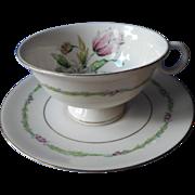 Garden Flower Cup Saucer Vintager American Limoges Theodore Haviland