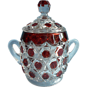 Antique Ruby Stain EAPG Sugar Bowl Lid Big Buttons Pressed Glass