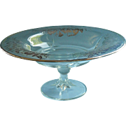 Sterling Silver Overlay Vintage Glass Compote Pedestal Bowl