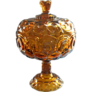 Big Moon And Star Amber Glass Compote Lid L.E.Smith Vintage Pedestal