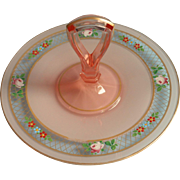 1920s Pink Enameled Glass Center Handle Serving Plate Tidbit Vintage Roses Tea Table Luncheon
