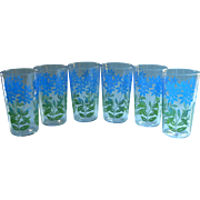 Set 6 Vintage Swanky Swig Tumblers Glasses Blue Peanut Butter Flowers Green