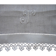 Monogram N Antique Linen Runner Tatted Lace TLC