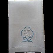 Monogram N Antique Towel Linen Damask Blue Bow On White