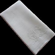Monogram N Antique Towel Linen Damask Wreath Bow TLC