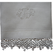 Monogram N Antique Towel Linen Tatted Lace Use As Runner