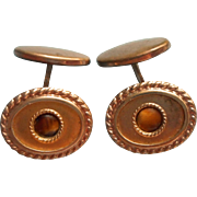 Antique Cufflinks Tiger Eye Stones
