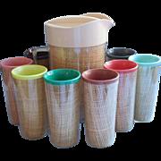 Vintage Raffiaware Set Pitcher 8 Tumblers Melmac Woven Straw Burlap Midcentury Tiki Insulated