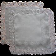 Linen Lace 2 Hankies Vintage Unused Crocheted Border