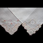 Unused Vintage 2 Hankies Lace Embroidery Cotton