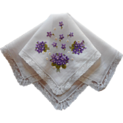 Hand Embroidery Lace Violets Vintage Hankie