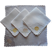 Silk Linen Tea Napkins Organdy Vintage 1920s Appliqued Embroidered