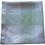 1920s Tablecloth Green Border White Damask Vintage Square