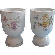 Antique 1880s China Egg Cups Flowers