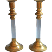 Brass Lucite Candlesticks Pair Vintage Handsome Simple