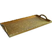 Vintage Chinese  Brass Tray Rectangular Engraved Decoration