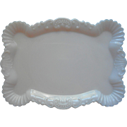 Antique Milk Glass Vanity Tray Scallops