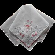Pink Gray Hankie Vintage Hand Embroidered Unused