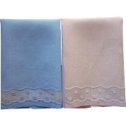 Madeira Guest Towels Vintage Linen Pink Blue Organdy Dots Applique