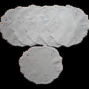 1920s Dessert Tea Plate Doilies Vintage Set 6 Cutwork Linen Hand Embroidery