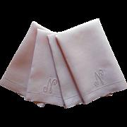 Monogram N Guest Towels Mauve Pink Linen Vintage 1950s